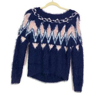 Lauren Conrad Blue Nordic Fuzzy Sweater